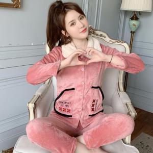 睡衣女秋冬季珊瑚绒加绒加厚保暖可爱甜美韩版法兰绒女家居服套装    29.9元