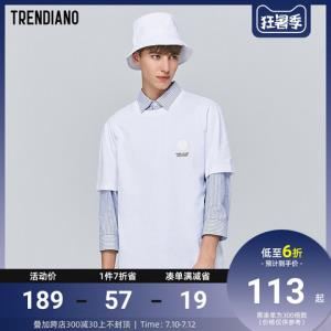 TRENDIANO潮牌夏季男装章仔标语休闲含棉圆领短袖T恤男    132.3元