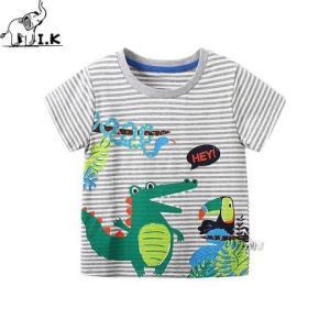 印象童年男童短袖T恤2020夏装新款条纹恐龙打底衫中小童洋气上衣 14元