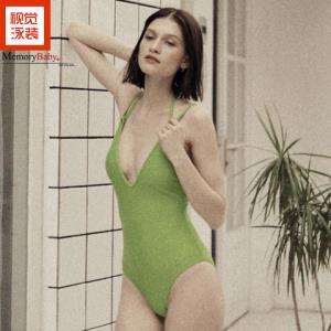 MEMORYBABY2020度假新品纯色系带减龄惊艳露背时尚气质连体泳衣女 139.8元