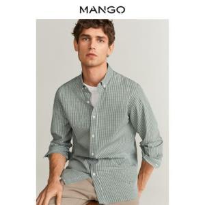 MANGO67080502男士格纹长袖衬衫 99元