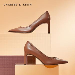 CHARLES&KEITH女鞋冬季CK1-60361229编织锁边饰尖头高跟单鞋女Brown棕色37    189元