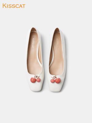 接吻猫2020夏新款简约方头羊皮潮流气质仙女风平底鞋浅口单鞋女    349元