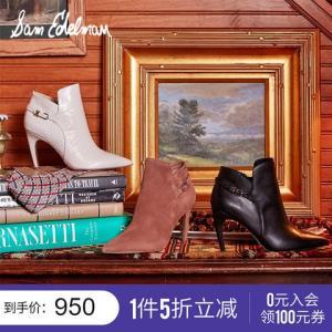 SAMEDELMAN新款牛皮尖头一字扣细跟高跟鞋短筒靴女鞋FIORAG6502    950元(需用券)