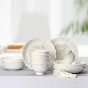 泰鑫兴餐具套装20头骨瓷碗碟盘勺套装3-4人家用白金丽人*2件 172.6元(合86.3元/件)