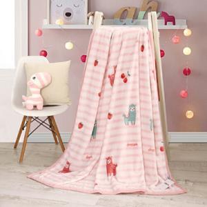 水星家纺粉色卡通印花床上盖毯水果羊法兰绒毯    39元
