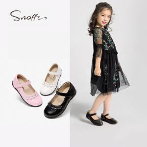 斯纳菲童鞋女童皮鞋黑色学生表演鞋宝宝公主演出鞋儿童单鞋18623黑色36 79元