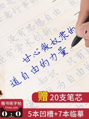 致旗ZQ-T51正楷凹槽练字帖12本装5本凹槽+7本临摹+20支笔芯 9.5元(需用券)