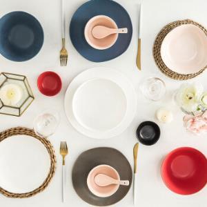 亿嘉IJARL餐具套装陶瓷碗碟套装盘子勺子碗具健康色釉礼盒巴克系列42件套