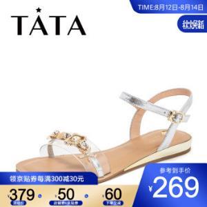 Tata/他她夏专柜同款兰/白拼接胶片一字带平底女凉鞋FFR03BL9银/白35 250.05元