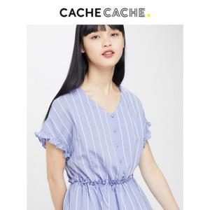 CacheCache2019春夏新款高腰收腰显瘦条纹木耳边V领设计感衬衫女    55元