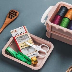 线针线盒百宝箱套装多功能针线包缝纫缝补线盒收纳盒2层8卷线 9.9元