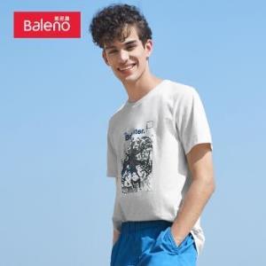 班尼路BalenoT恤男2020夏季t恤男短袖潮牌美式印花棉宽松休闲打底体恤34.5元