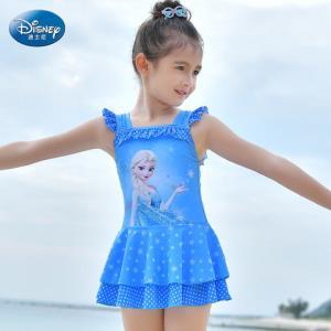 迪士尼冰雪奇缘儿童泳衣女童女孩中大童连体裙式公主可爱游泳装    50元(需用券)