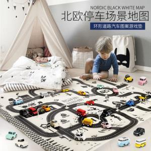 口袋合金车6辆+北欧黑白停车地图套装玩具 32.9元包邮(需用券)