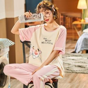长裤睡衣女春秋夏季纯棉短袖长裤套装时尚可爱印花卡通家居服 39.9元(需用券)