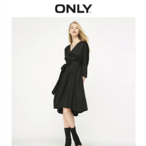 ONLY119107614气质收腰七分袖连衣裙女    98元