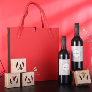 法国进口红酒2瓶月饼4块高档礼盒168元(需用券)