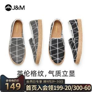 jm快乐玛丽2020新款潮流休闲厚底条纹布鞋一脚蹬平底帆布鞋男125M    159元