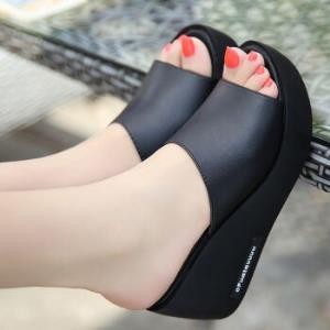 佩觉坡跟凉拖鞋女夏高跟厚底松糕鞋鱼嘴一字拖鞋(黑色-158)35
