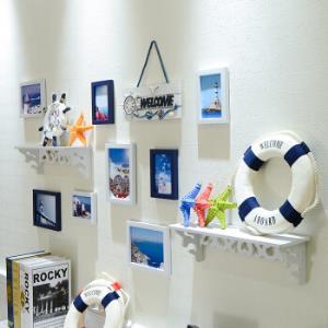 客厅照片墙相框挂墙上卧室布置房间装饰品ins相片墙免打孔置物架10B-蓝白81元