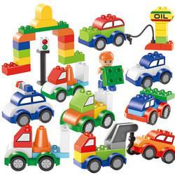 糖米(Temi)53粒大颗粒汽车积木城市交通拼装百变汽车包创意拼插积木宝宝儿童玩具礼盒装*3件88.8元(合29.6元/件)