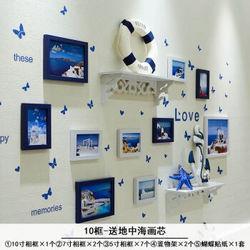 虔生缘(CHANSUNRUN)客厅照片墙相框挂墙上卧室布置房间装饰品ins相片墙免打孔置物架10B-蓝白81元