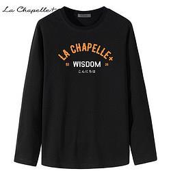 LaChapelle拉夏贝尔男士宽松圆领纯棉长袖T恤 29.9元
