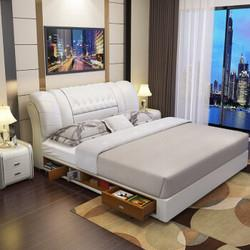 中派床卧室皮床双人头层牛皮真皮软床1.8*2.0高箱床+床垫+床头柜1个2549元(需买2件,共5098元)