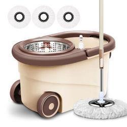 吉本加厚旋转拖把桶拖把家用拖布干湿两用免手洗地拖普通款全钢高配+5个拖把头+地板刷