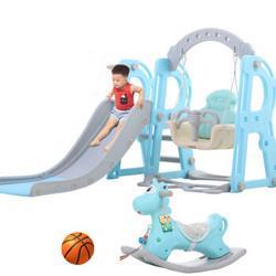 儿童滑梯室内玩具秋千组合多功能2-6岁宝宝滑滑梯套装海洋球池游乐园标配款三合一蓝色288元