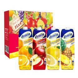 地中海塞浦路斯进口芳塔娜(Fontana)四种口味100%果汁1L*4瓶果汁饮料礼盒装*6件