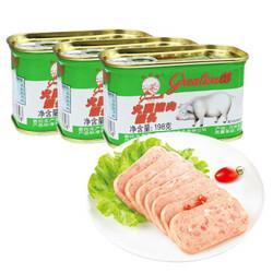 长城(GreatwallBRAND)午餐肉小白猪火腿猪肉罐头火锅泡面早餐搭档198g*3罐*4件124元(需用券,合31元/件)