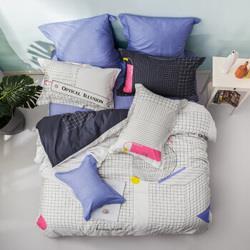 乐蜗家纺LOVO纯棉四件套床上用品时尚条纹格子图案全棉床单被套超维共鸣220*240cm