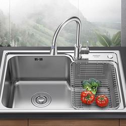 箭牌卫浴(ARROW)304不锈钢加厚水槽AE556504G-1单槽650*430*215    399元