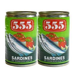 鲜得味555沙丁鱼罐头番茄味2罐310g*5件29.5元(需用券,合5.9元/件)