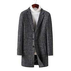 Hodo红豆DXISD005SS2男士格纹大衣中长款 96元