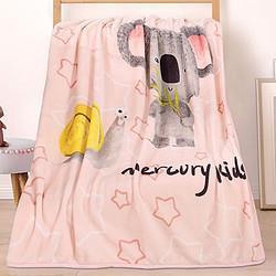 水星家纺儿童卡通法兰绒童毯办公室休闲午休毛毯空调被毛巾毯子44元