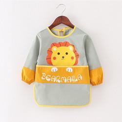 欧麦贝贝儿童罩衣宝宝吃饭围兜婴儿反穿衣防水防脏饭兜小孩画画护衣MF025黄色狮子100码*3件101.74元(合33.91元/件)