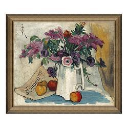 静物油画《紫藤萝与红苹果》潘玉良背景墙装饰画挂画71×61cm 600元包邮
