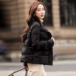 2020冬装新款女韩版宽松短款保暖小香风织带拼接百搭简约棉衣379元