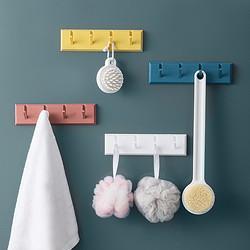 卡沐森创意免打孔粘贴挂钩浴室厨房置物架墙壁门后排钩衣帽挂架1个装颜色随机9.99元(包邮、需用券)