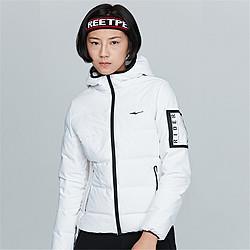 女休闲运动上衣印花热压保暖防风加绒女款连帽羽绒夹克女外套 149元