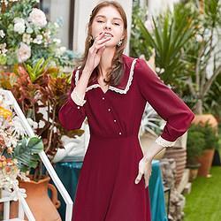 法式雪纺连衣裙女气质赫本风收腰显瘦娃娃领裙    199元