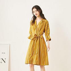 ONLY2020夏季新款单排扣收腰显瘦系带喇叭袖连衣裙女|120307030 225元