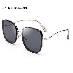 Jardind'amour太阳镜女款墨镜方框大框修脸开车驾驶镜女士防紫外线眼镜TR90JA6197黑色 111.2元(需买2件,共222.4元)