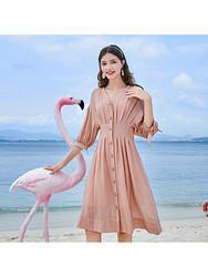 三彩2020夏季新款V领初恋神裙七分袖连衣裙吊带两件套 141元(需用券)