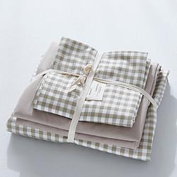 梦罗蓝水洗棉四件套简约格子床上用品1.5-1.8米床单款四件套被套200*230CM