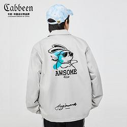 CABBEEN卡宾卡宾男装休闲灰色棒球领夹克外套2021春夏卡通植绒印花宽松H