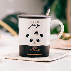hommy佳佰双色杯-熊猫马克杯带盖带勺
